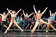 08/02/2013. London, UK. A Chorus Lineopened for first time in London season, since its first in 1976 won the Olivier Award for Best Musical. This full London revival of the Broadway Production A Chorus Line is being staged at the London Palladium from February 2013. The production is directed by Broadway and West End veteran director and choreographer Bob Avian. Picture shows Leigh Zimmerman (Sheila) John Partidge (Zach) (right front).