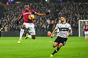 West Ham United Defender Issa Diop (23) and Fulham Forward Aleksandar Mitrovic (9) in action during the Premier League match between West Ham United and Fulham at the London Stadium, London, England on 22 February 2019.
