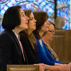 30 APRIL 2016 -- WENTZVILLE, Mo. -- Gianna Emanuela Molla (left), daughter of St. Gianna Beretta Molla, participates in a Rosary service at St. Gianna Catholic Church in Wentzville, Mo. Saturday, April 30, 2016. Joining Molla are St. Gianna parishioners Seana Tetzlaff (second from left), Mary Williams and Nancy Sanders, during Molla's visit to the Archdiocese of St. Louis to mark the 10th anniversary of St. Gianna Parish.<br /> <br /> Photo by Sid Hastings.