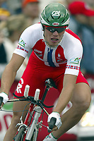 LIEGE LUIK 3/07/2004 - TOUR DE FRANCE 2004 / RONDE VAN FRANKRIJK 2004 / SPORT CYCLING CYCLISME WIELRENNEN / PROLOOG / PROLOQUE /<br />THOR HUSHOVD<br />/ PHOTO : VINCENT KALUT & NICO VEREECKEN <br />©opyright PHOTO NEWS