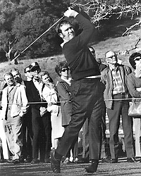 Golfer Bob Lunn tees off at Silverado Country Club during the Kaiser Open. photo/Ron Riesterer