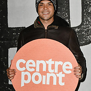 Nick Afoa - Simba in the Lion King in the West End join Sleep Out fundraiser to help homeless young people at Greenwich Peninsula Quay on 15 November 2018, London, UK.
