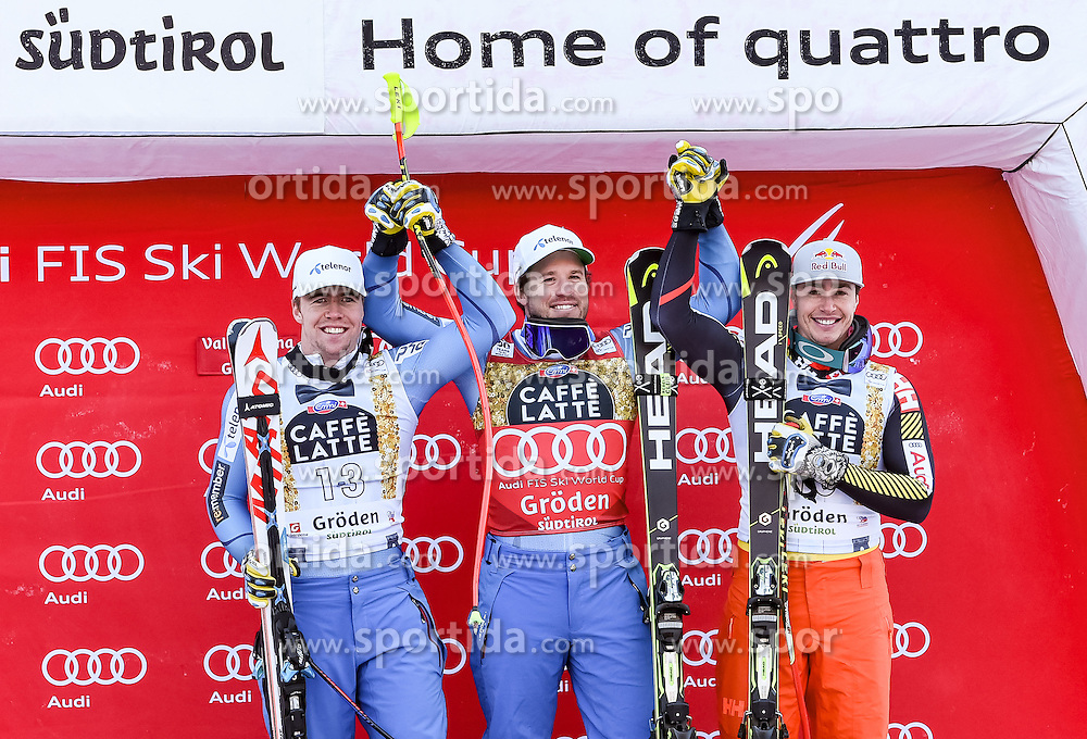 16.12.2016, Saslong, St. Christina, ITA, FIS Ski Weltcup, Groeden, Super G, Herren, Flower Zeremonie im Bild v.l. Aleksander Aamodt Kilde (NOR, 2. Platz), Kjetil Jansrud (NOR, 1. Platz), Erik Guay (CAN, 3. Platz) // f,l, second placed Aleksander Aamodt Kilde of Norway, race winner Kjetil Jansrud of Norway, third placed Erik Guay of Canada during the Flowers ceremony for the men's SuperG of FIS Ski Alpine World Cup at the Saslong race course in St. Christina, Italy on 2016/12/16. EXPA Pictures © 2016, PhotoCredit: EXPA/ Erich Spiess