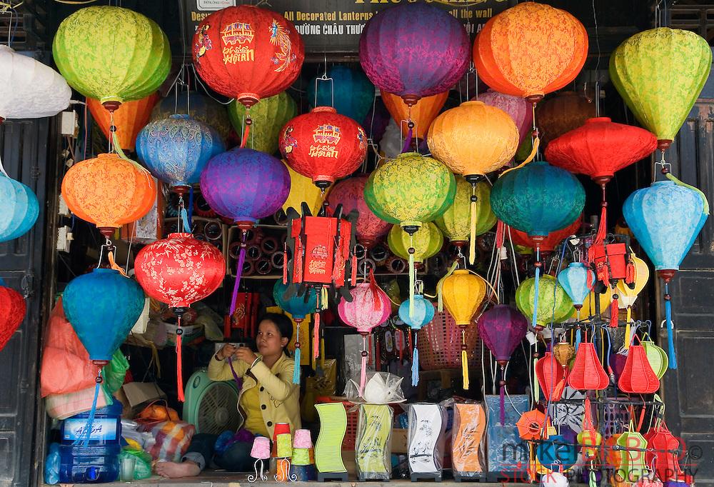 handcrated lanterns shop.<br /> Hoi An, Vietnam, Asia.