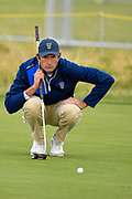 Stewart Hagestad (USA) lines up a putt on the first green during the Saturday morning Foursomes in the Walker Cup at the Royal Liverpool Golf Club, Saturday, Sept 7, 2019, in Hoylake, United Kingdom. (Steve Flynn/Image of Sport)