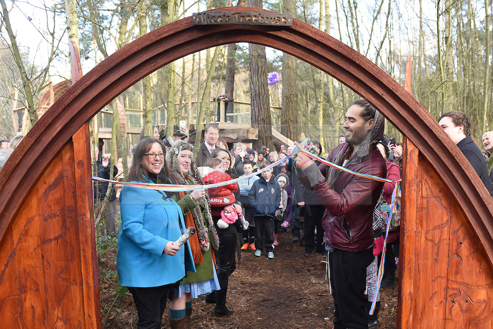 © Licensed to London News Pictures. 30/01/2016. Slough, UK. Russell Brand cutting the ribbon at the formal opening of a wooden treehouse in memory of murder victim Alice Adams in Black Park, Wexham on Saturday 30th January. The 20-year-old was stabbed to death in August 2011 with her friend and co-worker Tibor Vass, at a staff flat behind the Radisson Edwardian Hotel near Heathrow Airport. The murderer was Attila Ban, aged 32,  who also worked at the hotel as a receptionist. After the death of Alice, her family created a charity called, Alice Adams Foundation, to raise money to build the treehouse. Photo credit should read: Emma Sheppard/LNP