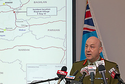 Chief of Defence Staff, Lieutenant General Rhys Jones speaking at a media conference following the death of two Kiwi Soldiers and several casualties from the Provincial Reconstruction Team in an incident north-east of Bamiyan Province, Afghanistan, Whenuapai Airbase, Auckland, New Zealand, Sunday, August 05, 2012.  Credit:SNPA / David Rowland