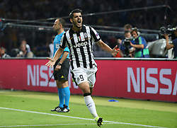 06-06-2015 GER: UEFA Champions League final Juventus - Barcelona, Berlin<br /> Alvaro Morata (Juventus Turin #9) beim Torjubel nach dem Treffer zum 1:1during the UEFA Champions League final match between Juventus FC and Barcelona FC at the Olympia Stadion in Berlin<br /> <br /> ***NETHERLANDS ONLY***