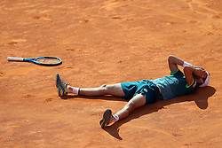 May 6, 2018 - Estoril, Portugal - Joao Sousa of Portugal celebrates after winning the Millennium Estoril Open ATP 250 tennis tournament final against Frances Tiafoe of US, at the Clube de Tenis do Estoril in Estoril, Portugal on May 6, 2018. (Joao Sousa won 2-0) (Credit Image: © Pedro Fiuza/NurPhoto via ZUMA Press)