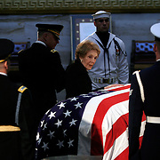 Widow of former President Ronald Reagan looks back on his casket as she departs the Rotunda of the US Capitol Friday, June 11, 2004, in Washington, DC.    ..Photo by Khue Bui