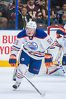 PENTICTON, CANADA - SEPTEMBER 16: Lane Bauer #58 of Edmonton Oilers skates against the Vancouver Canucks on September 16, 2016 at the South Okanagan Event Centre in Penticton, British Columbia, Canada.  (Photo by Marissa Baecker/Shoot the Breeze)  *** Local Caption *** Lane Bauer;