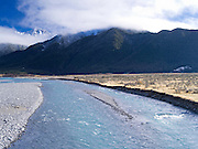 The Waimakariri River  with the Polar Range in the background, New Zealand.