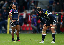 Sale Sharks players look dejected after the match - Mandatory by-line: Matt McNulty/JMP - 20/11/2016 - RUGBY - AJ Bell Stadium - Sale, England - Sale Sharks v Saracens - Aviva Premiership