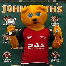 WINNER OF 2008 JOHN SMITHS MASCOT GRAND NATIONAL, WACKY MACKY OF SAFFRON WALDEN FC, ON WINNERS STAND WITH HIS WINNING MEDAL, AND TROPHY, John Smiths Mascot Grand National, Huntingdon Racecourse Sunday 5th October 2008