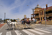 Horse-drawn carriage outside restored Maylands Hotel. Maylands, Perth, Western Australia