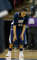 March 29, 2010; Sacramento, CA, USA; Xavier Musketeers forward April Phillips (42) reacts after the Stanford Cardinal made the game winning basket as time expired during the second half in the finals of the Sacramental regional in the 2010 NCAA womens basketball tournament at ARCO Arena. Stanford defeated Xavier 55-53.