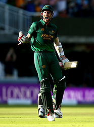 Alex Hales of Nottinghamshire celebrates the winning runs being scored for his team as they win the Royal London One-Day Cup Final - Mandatory by-line: Robbie Stephenson/JMP - 01/07/2017 - CRICKET - Lord's Cricket Ground - London, United Kingdom - Nottinghamshire v Surrey - Royal London One-Day Cup Final 2017