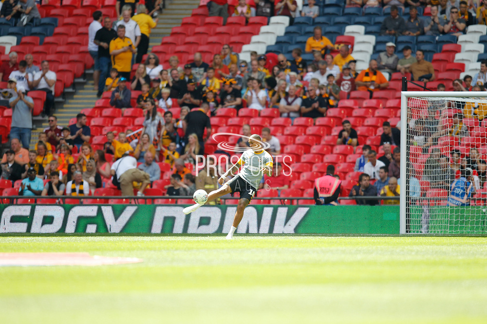 Newport County midfielder Keanu Marsh-Brown (10) warming uo before the EFL Sky Bet League 2 Play Off Final match between Newport County and Tranmere Rovers at Wembley Stadium, London, England on 25 May 2019.