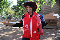 Johannesburg 08-09-18 Karin Muller from Kempton Park holds food for her family in the precinct of the stadium. Rugby Currie Cup match between the Xerox Golden Lions vs Toyota Free State Cheetahs at Emirates Airline Park. Picture: Karen Sandison/African News Agency(ANA)