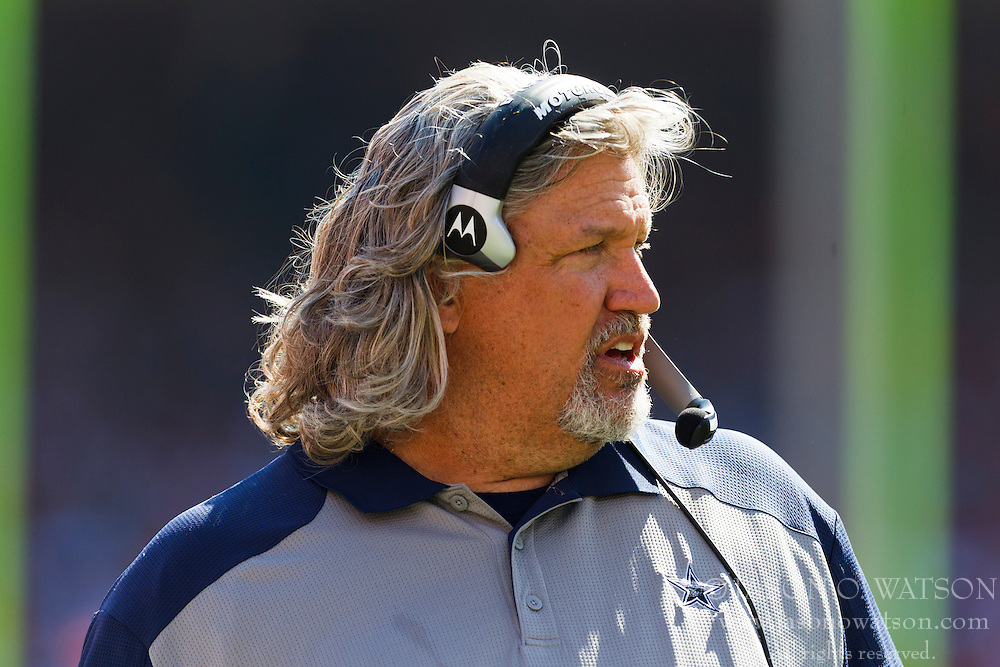 September 18, 2011; San Francisco, CA, USA; Dallas Cowboys defensive coordinator Rob Ryan on the sidelines against the San Francisco 49ers during the third quarter at Candlestick Park.  Dallas defeated San Francisco 27-24 in overtime.