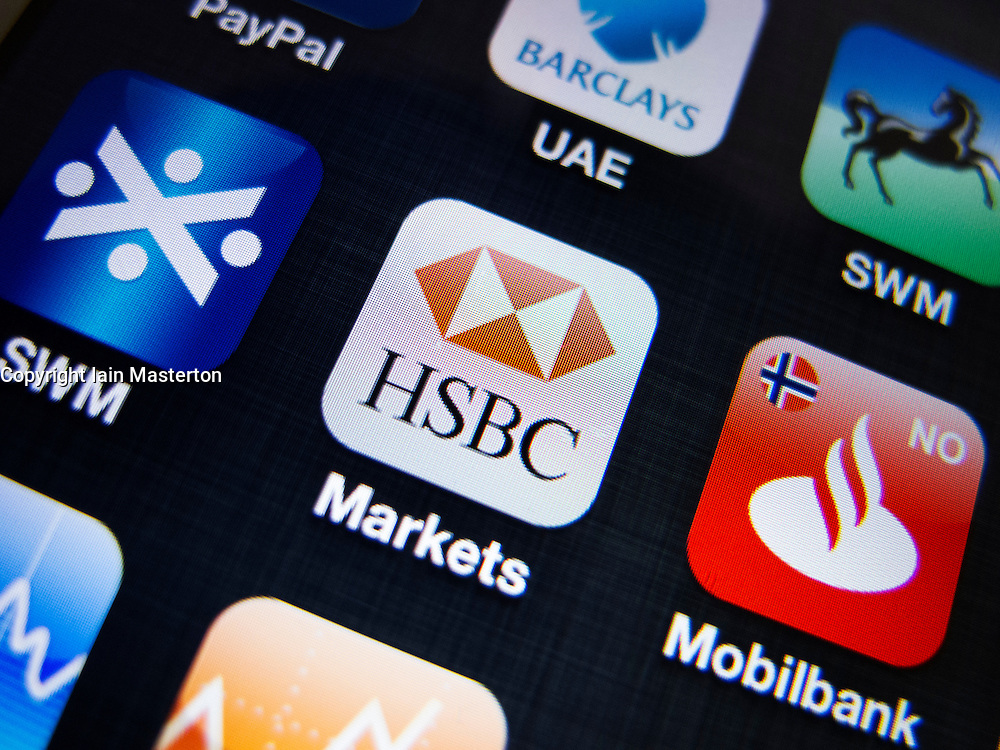 detail of HSBC banking app on iPhone screen