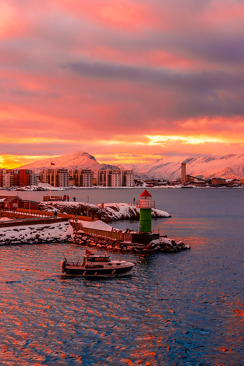 A boat departing the harbor. Bodo, Arctic Northern Norway.