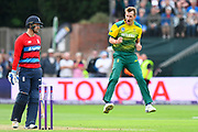 Chris Morris of South Africa leaps in the air to celebrate what he thinks is a wicket against Liam Livingstone of England but it is not given during the NatWest International T20 match between England and South Africa at the Cooper Associates County Ground, Taunton, United Kingdom on 23 June 2017. Photo by Graham Hunt.
