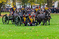 London, November 14 2017. Gunners from the King's Royal Horse Artillery stage a 21 gun salute in Green Park as part of the celebrations to mark the 69th birthday of the Charles, The Prince of Wales. © Paul Davey