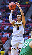 SAN DIEGO, CA - MARCH 16:  Landry Shamet #11 of the Wichita State Shockers shoots against the Marshall Thundering Herd during a first round game of the Men's NCAA Basketball Tournament at Viejas Arena in San Diego, California. Marshall won 81-75.  (Photo by Sam Wasson)