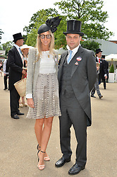 The HON.EDWARD SACKVILLE and his wife SOPHIE at day two of the Royal Ascot 2016 Racing Festival at Ascot Racecourse, Berkshire on 15th June 2016.