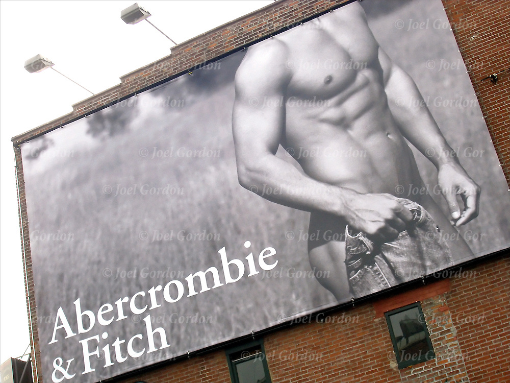 Male semi-nude body is used a sex object on this billboard for Abecrombie & Fitch. This is targeting your audience, the billboard is in a gay area in Greenwich Village. Sex is everywhere in the American Culture today. advertising billboard in which sex is used to sell a product.