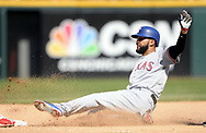 CHICAGO - JULY 01:  Nomar Mazara #30 of the Texas Rangers slides safely into third base against the Chicago White Sox on July 1, 2017 at Guaranteed Rate Field in Chicago, Illinois.  The Rangers defeated the White Sox 10-4.  (Photo by Ron Vesely) Subject:   Nomar Mazara