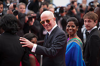 Claudine Vinasitamby, director Jacques Audiard, Kalieaswari Srinivasan, Vincent Rottiers, at the gala screening for the film Dheepan at the 68th Cannes Film Festival, Thursday May 21st 2015, Cannes, France.