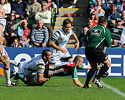 Twickenham, GREAT BRITAIN, Quins, Mike BROWN, , stretching through Joe EL-ADL tackle to touch down  to score a first  half try,  during the Guinness Premiership match,  Harlequins vs Bristol Rugby, at The Stoop Stadium, Surrey on Sat 13.09.2008. [Photo, Peter Spurrier/Intersport-images]