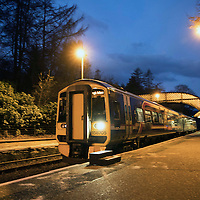 The 07.39 to Edinburgh departs ScotRail's Dunkeld & Birnam railway station…01.12.16<br />Picture by Graeme Hart.<br />Copyright Perthshire Picture Agency<br />Tel: 01738 623350  Mobile: 07990 594431