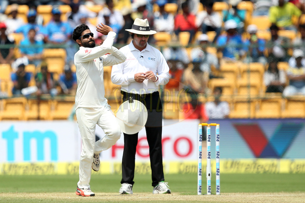 Ravindra Jadeja of India bowls during day two of the second test match between India and Australia held at the M Chinnaswamy Stadium in Bangalore on the 5th March 2017. Photo by: Prashant Bhoot / BCCI/ SPORTZPICS