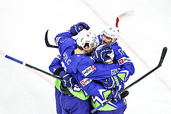 Miha Verlic of Slovenia, Ziga Pavlin of Slovenia and other players celebrate during Ice Hockey match between National Teams of Kazakhstan and Slovenia in Round #4 of 2018 IIHF Ice Hockey World Championship Division I Group A, on April 27, 2018 in Arena Laszla Pappa, Budapest, Hungary. Photo by David Balogh / Sportida