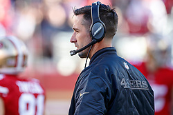 SANTA CLARA, CA - DECEMBER 17: Head coach Kyle Shanahan of the San Francisco 49ers look on from the sidelines during the second quarter against the Tennessee Titans at Levi's Stadium on December 17, 2017 in Santa Clara, California.  (Photo by Jason O. Watson/Getty Images) *** Local Caption *** Kyle Shanahan