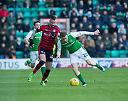 4th November 2017, Easter Road, Edinburgh, Scotland; Scottish Premiership football, Hibernian versus Dundee; Dundee's Marcus Haber takes on Hibernian's Brandon Barker