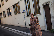 A women in Via Slataper, just outside the squatted building