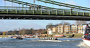 """London; GREAT BRITAIN; Both Cambridge crews pass under Hammersmith Bridge. University Trial Eights for crew selection for 157th Boat Race [April 2011]  raced over the Championship Course Putney to Mortlake  on the River Thames. Wednesday  - 08/12/2010   [Mandatory Credit; """"Photo, Peter Spurrier/Intersport-images]..Crews..CUBC. Bake; Middx Station.Bow, Nick EDELMAN, 2. Charlie PITT-FORD, 3. Josh PENDRY, 4. Alex ROSS, 5. Geoff ROTH, 6. Derek RASUSSEN, 7. David NELSON, Stroke. Mike THORP and cox Liz BOX...CUBC Shake; Surrey Station.Bow, Jamie LOGIE, 2. Andrew VIQUERTAT, 3. James STRAWSON, 4. Ben EVANS, 5. Dan RIX-STANDING, 6. Hardy CUBASCH, 7. George NASH, stroke. Joel JENNINGS and cox Tom FIELDMAN."""