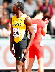 LONDON, Aug. 12, 2017  Usain Bolt of Team Jamaica reacts ahead of Men's 4x100m Relay Heats on Day 9 of the 2017 IAAF World Championships at London Stadium in London, Britain, on Aug. 12, 2017. (Credit Image: © Wang Lili/Xinhua via ZUMA Wire)