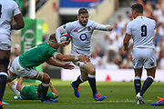 England player Elliot Daly finds some space to run in the first half during the England vs Ireland warm up fixture at Twickenham, Richmond, United Kingdom on 24 August 2019.