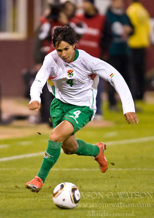 February 24, 2010; San Francisco, CA, USA;  Bolivia defender Marvin Bejarano (4) during the second half against Mexico at Candlestick Park. Mexico defeated Bolivia 5-0.