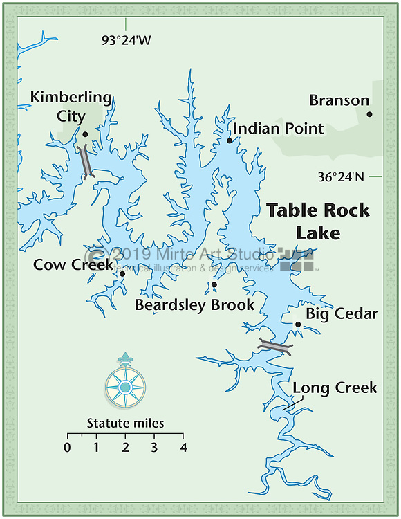 Vector map of Table Rock Lake, Missouri