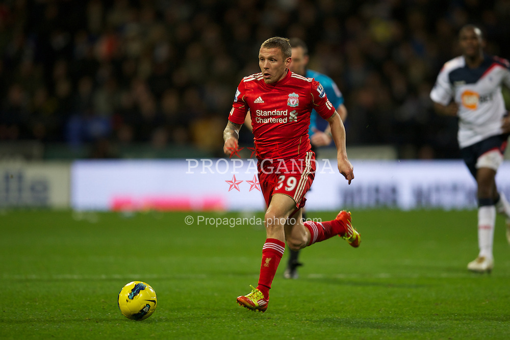 BOLTON, ENGLAND - Saturday, January 21, 2011: Liverpool's Craig Bellamy in action against Bolton Wanderers during the Premiership match at the Reebok Stadium. (Pic by David Rawcliffe/Propaganda)