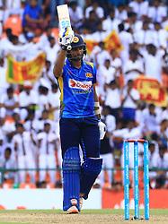 October 20, 2018 - Kandy, Sri Lanka - Sri Lankan cricketer Dasun Shanaka celebrates after scoring 50 runs  during the 4th One Day International cricket match between Sri Lanka and England at the Pallekele International Cricket Stadium  Sri Lanka. Saturday 20 October 2018  (Credit Image: © Tharaka Basnayaka/NurPhoto via ZUMA Press)