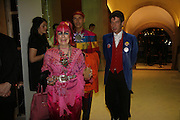 Zandra Rhodes, Andrew Logan and Duggie Fields, Burberry celebrates the opening of the Hockney exhibition and their 150th anniversary with a party at the National Portrait Gallery. 11 October 2006. -DO NOT ARCHIVE-© Copyright Photograph by Dafydd Jones 66 Stockwell Park Rd. London SW9 0DA Tel 020 7733 0108 www.dafjones.com