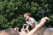 COIN lead singer Chase Lawrence interacts with the crown Sunday at Music Midtown.