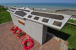 NORMANDY, FRANCE - MAY-01-2007 - Omaha Beach Golf Club - Course: La Mer (The Sea) - Hole 6 - 469 yards - Par 4. A monument to those who lost their lives during the D-Day Invasion on Omaha Beach. (Photo © Jock Fistick)